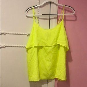 tahari neon yellow top